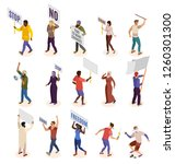 activists isometric icons set... | Shutterstock .eps vector #1260301300