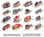 suburbian buildings isometric... | Shutterstock .eps vector #1260301360
