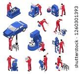 isometric mechanic professional ... | Shutterstock .eps vector #1260301393