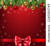 christmas poster with bow with... | Shutterstock .eps vector #1260303769