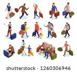 travel people isolated icons... | Shutterstock .eps vector #1260306946