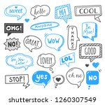 speech bubbles drawn by hand  ... | Shutterstock .eps vector #1260307549