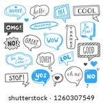 speech bubbles drawn by hand  ... | Shutterstock .eps vector #1260307549