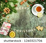 christmas decoration on green... | Shutterstock . vector #1260321706