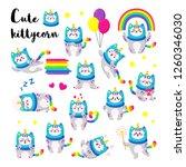 cute cartoon vector doodle cats ... | Shutterstock .eps vector #1260346030