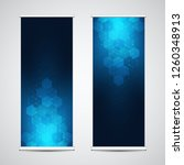 roll up banner stands with...   Shutterstock .eps vector #1260348913