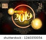 2019 happy new year shining... | Shutterstock .eps vector #1260350056