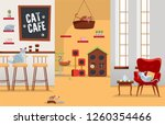 interior cat cafe. cozy place...   Shutterstock .eps vector #1260354466