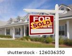 for sale sold real estate sign... | Shutterstock . vector #126036350