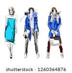 fashion girls sketch. fashion... | Shutterstock .eps vector #1260364876