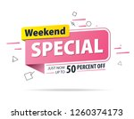 yellow pink tag weekend special ... | Shutterstock .eps vector #1260374173
