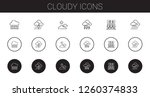 cloudy icons set. collection of ... | Shutterstock .eps vector #1260374833