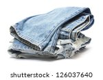 Stack Of Jeans On White...