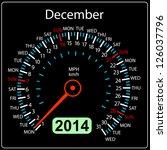 2014 year calendar speedometer... | Shutterstock .eps vector #126037796