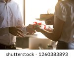 colleagues greeting... | Shutterstock . vector #1260383893