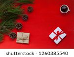 new year tree gifts decor... | Shutterstock . vector #1260385540