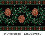 red rose black ground textile... | Shutterstock . vector #1260389560