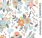 trendy colorful seamless floral ... | Shutterstock .eps vector #1260405403