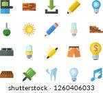 Color Flat Icon Set Brick Wall...