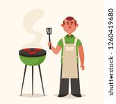 cute character. man cooking... | Shutterstock .eps vector #1260419680