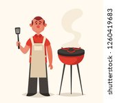 cute character. man cooking... | Shutterstock .eps vector #1260419683
