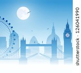 a misty london cityscape with... | Shutterstock .eps vector #126041990