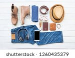 men's casual outfits with jeans ...   Shutterstock . vector #1260435379