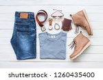 men's casual outfits with jeans ... | Shutterstock . vector #1260435400