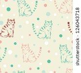 cute funny seamless pattern... | Shutterstock .eps vector #126043718