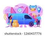 autonomous delivery van with... | Shutterstock .eps vector #1260437776