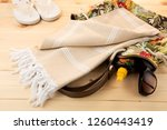 handwoven hammam turkish cotton ... | Shutterstock . vector #1260443419