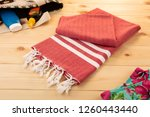 handwoven hammam turkish cotton ...   Shutterstock . vector #1260443440