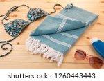 handwoven hammam turkish cotton ...   Shutterstock . vector #1260443443