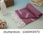handwoven hammam turkish cotton ... | Shutterstock . vector #1260443473