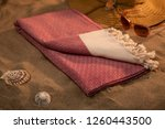 handwoven hammam turkish cotton ... | Shutterstock . vector #1260443500
