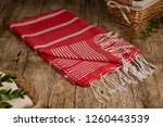 handwoven hammam turkish cotton ... | Shutterstock . vector #1260443539