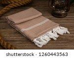 handwoven hammam turkish cotton ... | Shutterstock . vector #1260443563