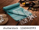 handwoven hammam turkish cotton ... | Shutterstock . vector #1260443593