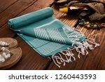 handwoven hammam turkish cotton ... | Shutterstock . vector #1260443593