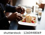 close up hands of fashionable... | Shutterstock . vector #1260448069