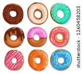 set of cartoon donuts. top view.... | Shutterstock .eps vector #1260458203
