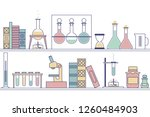 shelves of reagents and... | Shutterstock .eps vector #1260484903