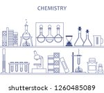 chemistry  science. shelf with... | Shutterstock .eps vector #1260485089