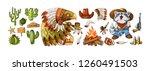 vector set cowboy and wild west ...   Shutterstock .eps vector #1260491503
