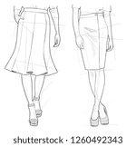 pencil female skirt sketch... | Shutterstock . vector #1260492343