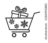 winter shopping cart line icon. ... | Shutterstock . vector #1260492883