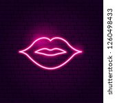 kiss lips neon sign. vector... | Shutterstock .eps vector #1260498433