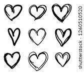 set of nine hand drawn heart.... | Shutterstock .eps vector #1260510520
