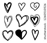 set of nine hand drawn heart.... | Shutterstock .eps vector #1260510526