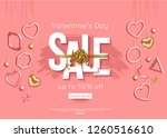 valentines day sale poster with ... | Shutterstock .eps vector #1260516610